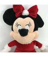 DISNEY Soft Stuffed MINNIE MOUSE in Santa Dress Baby Rattle Plush/Toy 12... - $22.76