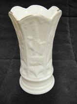 """Belleek 4"""" Bud Vase White Porcelain Gilded Edge Souvenir From Visitors C... - $8.45"""