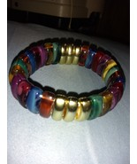 Multicolored Stretch Bracelet Polished Rocks Pre-owned - $14.00