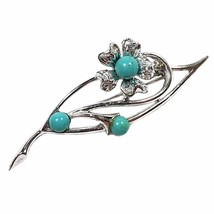Blue Note Brooch Vintage Pin Sarah Coventry Silver Tone Flower Blue Sign... - $9.89