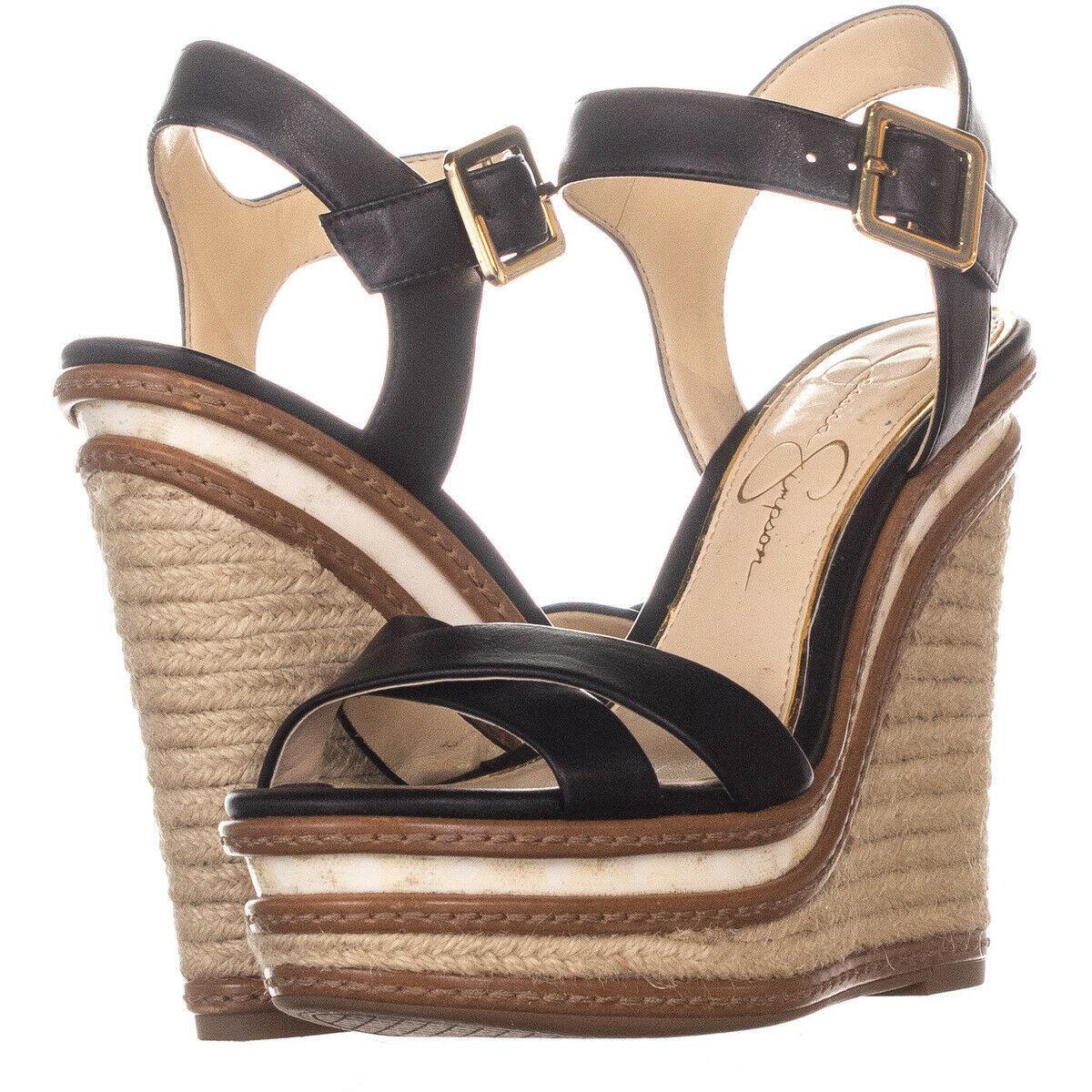Jessica Simpson Aeralin Wedge Slingback Sandals 822 Black