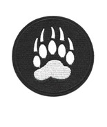 """BEAR PAW IRON ON PATCH 3.2"""" Embroidered Applique Black White Claw Print ... - $5.99"""