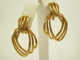 MONET ABSTRACT Door Knocker Gold Plate Geometric Clip Earrings Vintage C... - $16.82