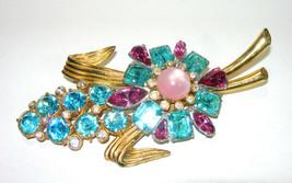 VINTAGE LARGE 1940'S RHINESTONE PINK & BLUE GOLD TONE & SILVER TONE BROO... - $115.00