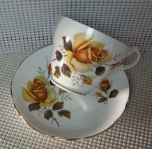Floral Regency China Footed Tea Cup & Saucer Lovely Yellow Gold Roses Euc - $9.26