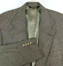 Cole Haan Mens Sport Coat Size 46 Regular Brown Black Windowpane Tweed P... - $49.86