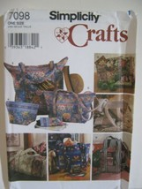 Simplicity Sewing Pattern 7098 Quilted Bags Duffel Tote Eyeglass Case Uncut - $4.42