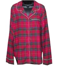 Lands' End Ladies Long Sleeve Print Flannel Pajama Top Rich Red Plaid NW... - $17.99