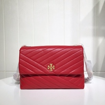 TORY BURCH KIRA CHEVRON FLAP SHOULDER BAG Red Auhentic - $339.00