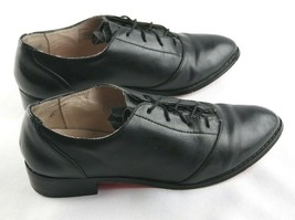 Betsey Johnson Renaldo Oxfords Womens Sz 6 Black Leather Lace Up Shoes - $27.00