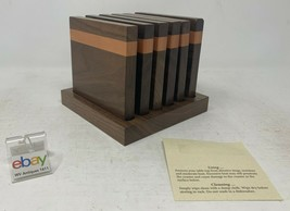 Amish Crafted Wooden Coaster Set with Caddy - Walnut and Red Grandis - S... - $69.99