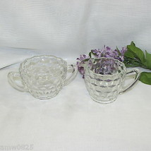 Depression Glass Cream & Sugar Bowl Set Cube Cubist Creamer CLEAR/CRYSTAL Vintag - $8.60