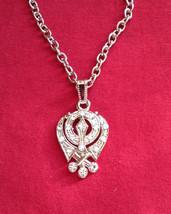 Stunning Diamante Silver Plated Legend Khanda Pendant Gift + Free Chain - $9.60