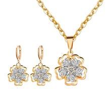 Women Wedding Necklace Earring Set- Gold Flower Jewelry Sets Crystal Ear... - $37.68