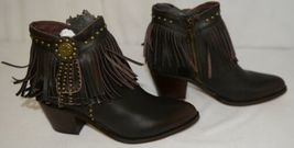 Lucky And Blessed SH 11 Dark Brown Leather Boots Fringe Metal Studs Size 7 image 5