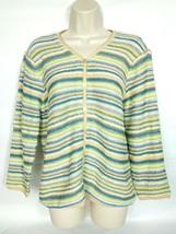 Talbots Women's Cardigan Sweater Size Medium Blue Green White Yellow Str... - $27.31