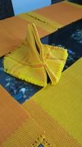 Napkin & Mats 100% Cotton Reversible Yellow Orange12 Pc Set Diwali Gift - $48.51
