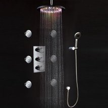LED Wall Mount Thermostatic Shower Faucet with BodySprays (Chrome Finish) - $692.95