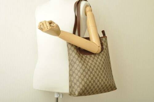 GUCCI GG Canvas Tote Bag Brown PVC Leather Auth 9065
