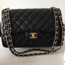 100% Authentic Chanel Black QUILTED LAMBSKIN JUMBO CLASSIC DOUTFLAP BAG Ghw image 2