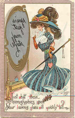 Primary image for Looking In The Looking Glass artist Dwig 1909 Post Card