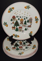 4 Direct Source Int'l Christmas Village Scene Holly Bells Sleigh Dinner ... - $39.59
