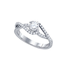 14k White Gold Round Diamond Solitaire Slender Woven Bridal Engagement R... - $1,403.00