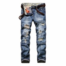 Men's Fashion Restoring Ancient Ways New Hole In Straight Jeans - $52.02