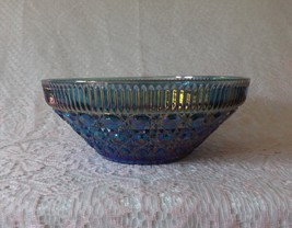 Indian Glass Serving Bowl Blue Windsor Vintage Carnival Glass Dishware Dishes - $21.99