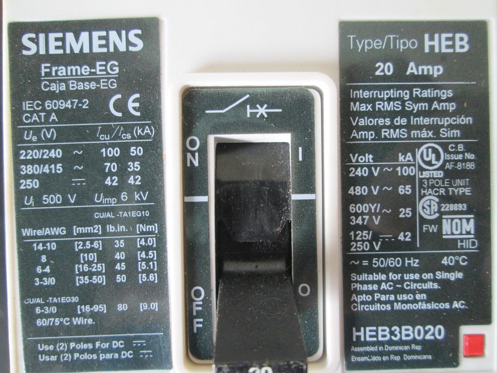 Heb3b020 Siemens Circuit Breaker 20 Amp And 50 Similar Items About Murray Mp3030 30 Single Pole 2 600 Volts 3