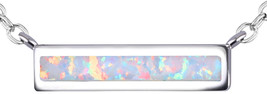 KELITCH Chic Bar Chain Necklace October Birthstone Created Opal Choker N... - $106.33