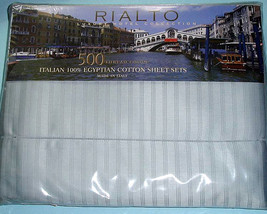 Sferra 500TC Hotel Rialto Luxury KING SHEET SET Blue Striped Egyptian Co... - $349.00