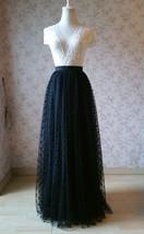 Black Polka Dot Tulle Skirt Black Long Tulle Skirts Outfit Black Maxi Skirt WT28 image 2