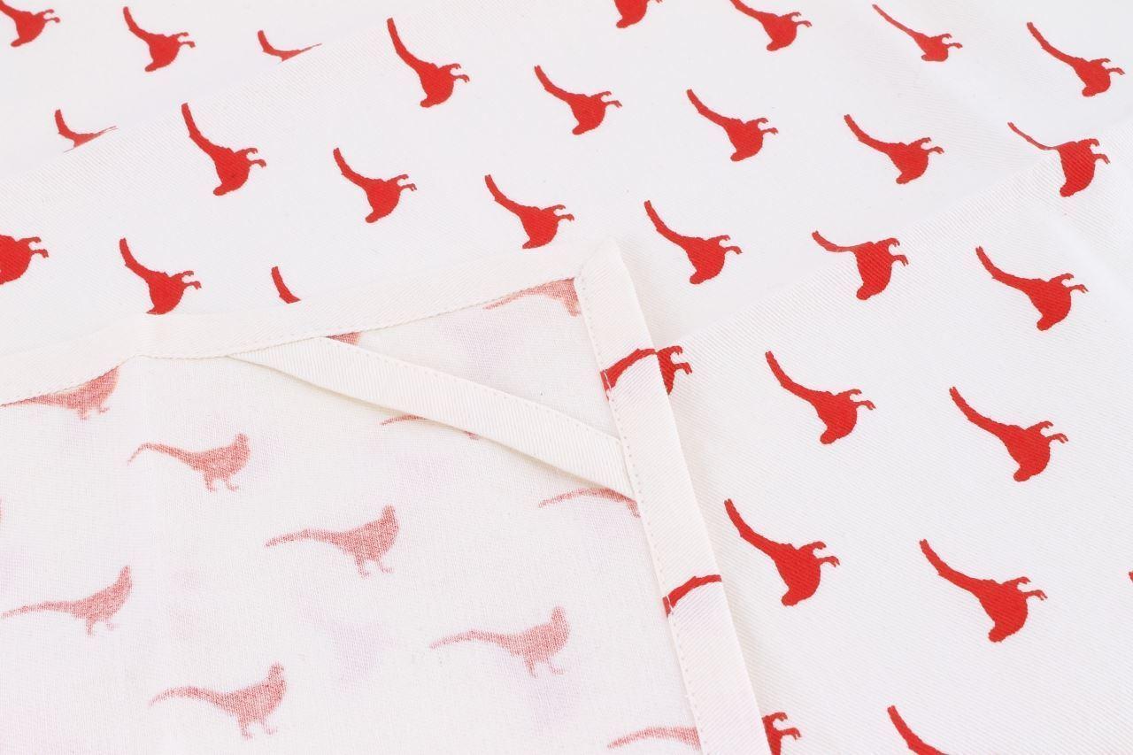 100% COTTON DESIGNED IN CORNWALL CREAM RED PHEASANT KITCHEN TEA TOWEL 70 X 50CM image 2