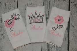 Personalized Baby Girl Burp Cloth set of 3 with Bird Flower and Crown - $27.00