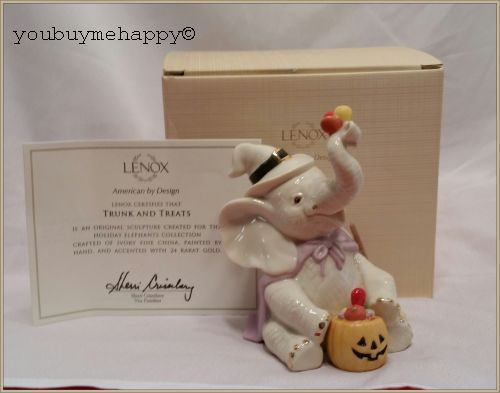 Lenox Halloween Trunk  & Treats Elephant Figurine  New in Box