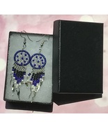 Earrings, Royal Blue Dream Catcher, Dangle, Native American, Fish hook e... - $9.79