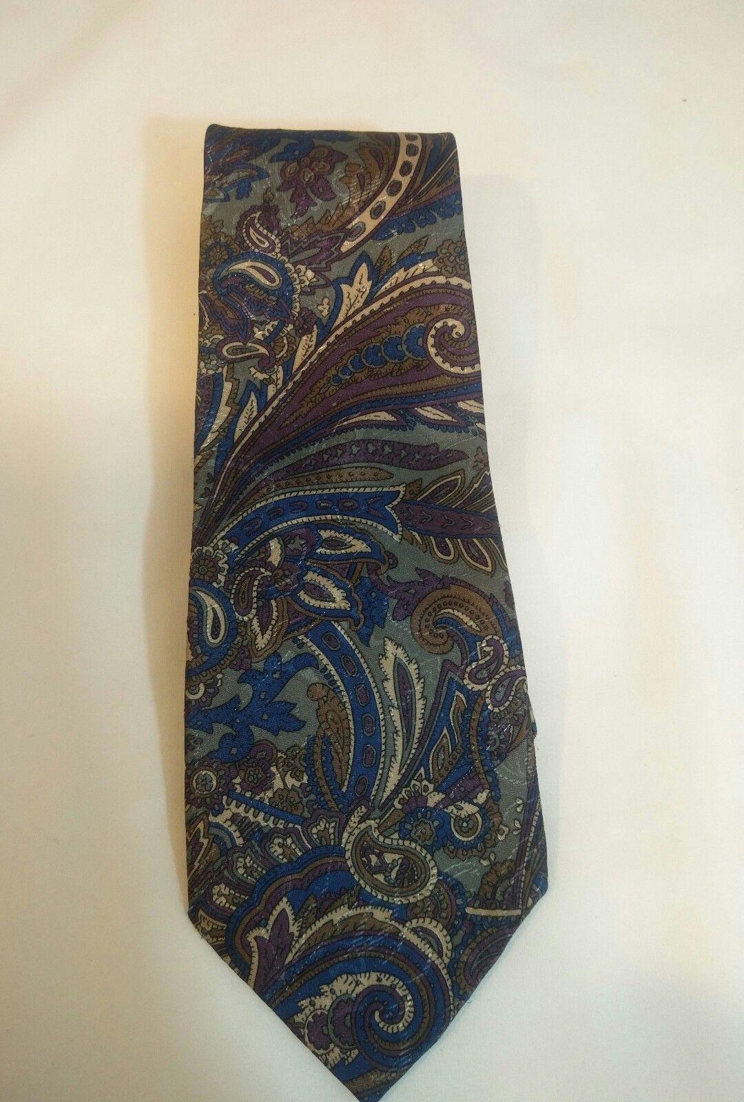 Geoffrey Beene Mens 3 Ties + CashMe Green Plaid Acrylic Scarf Handmade Silk Tie image 5