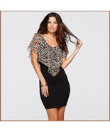 Leopard Print Sheer Chiffon Ruffle Collar Sleeveless Black Pencil Mini ... - £64.00 GBP