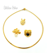 Nolan Miller Necklace Omega Slide Glamour Collection With 3 Pendants Vin... - $49.00
