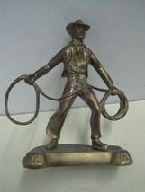 Antique Sculpture Statue Figures Figurine in bronze a cowboy - $45.24