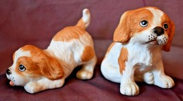 Homco DOG Figurines  numbered 1407 set of 2 beagle look tan and white - $10.88