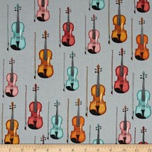 RJR Perfect Pitch Violins Grey Dan Morris 2457 100% cotton Fabric Remnan... - $9.79