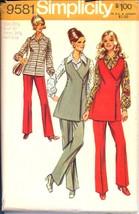 Uncut 1970s Size 20 1/2 Bust 43 Wrap Tunic Blouse Pants Simplicity 9581 ... - $9.99