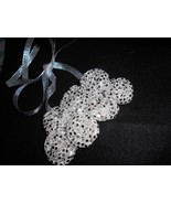 Rolled Fabric Rose Bib Statement Necklace - Silver on Silver Lame' - $22.00