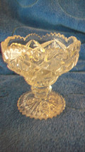 VINTAGE CRYSTAL SMALL CANDY DISH WITH STEM, INTRICATE DESIGN SCALLOPED E... - $74.24