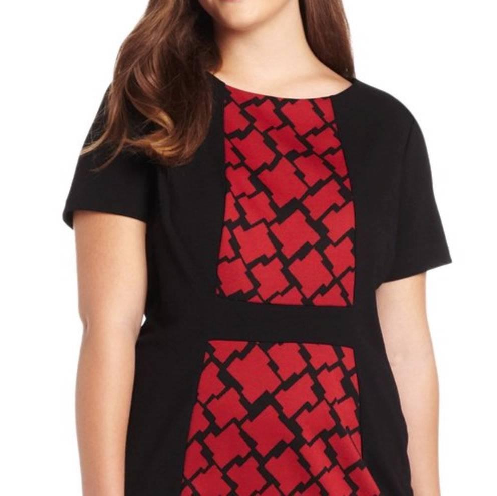 Anne Klein Houndstooth Ponte Dress 22W Red/Black Modest Versatile Day To Evening