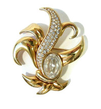 Vintage Swarovski Signed S.A.L. Clear Crystal & Pave Gold Tone Pin Brooch - $35.99