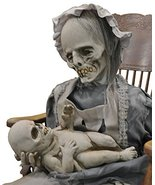 Life Size Deluxe Animated Sound-LULLABY ZOMBIE MOTHER BABY-Halloween Horror Prop - £386.95 GBP