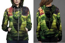 hulk close up image Hoodie Zipper Women's - $48.99+